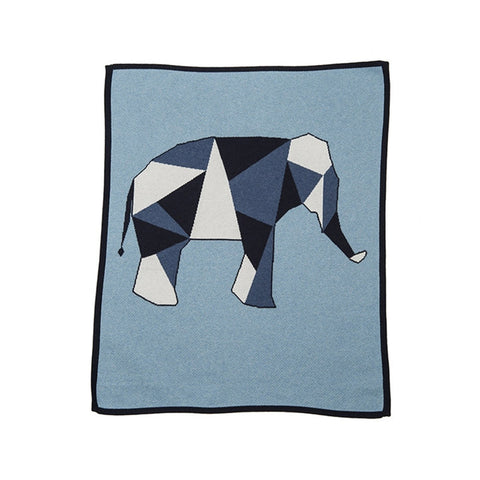 Geometric Elephant Blanket Blue