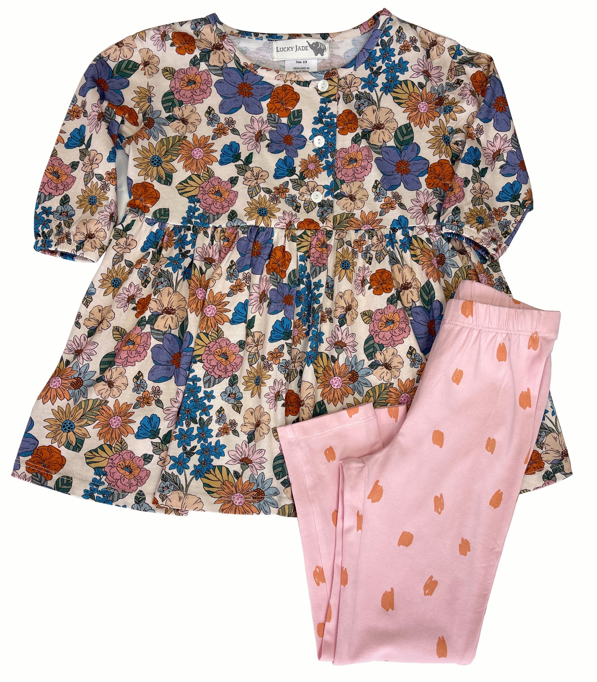 Floral Fancy Dress + Scribble Legging Set