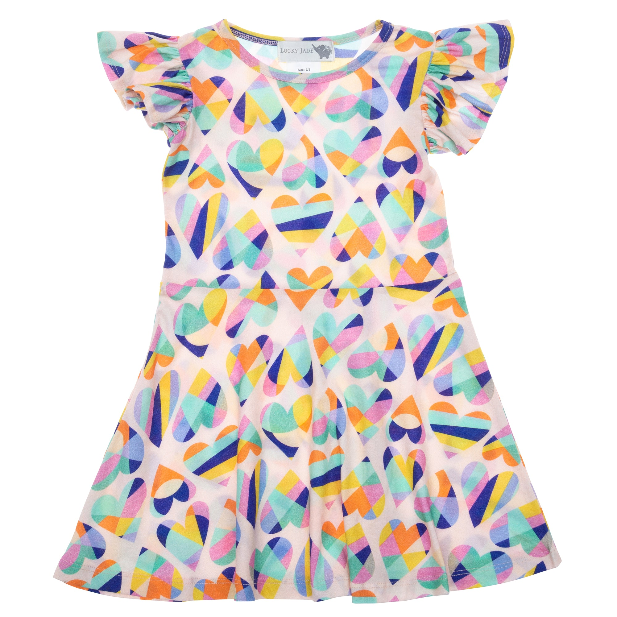 hearts cotton flutter sleeve dress with bright color  geometric hearts
