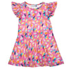 Cotton bright pink ice cream flutter sleeve dress