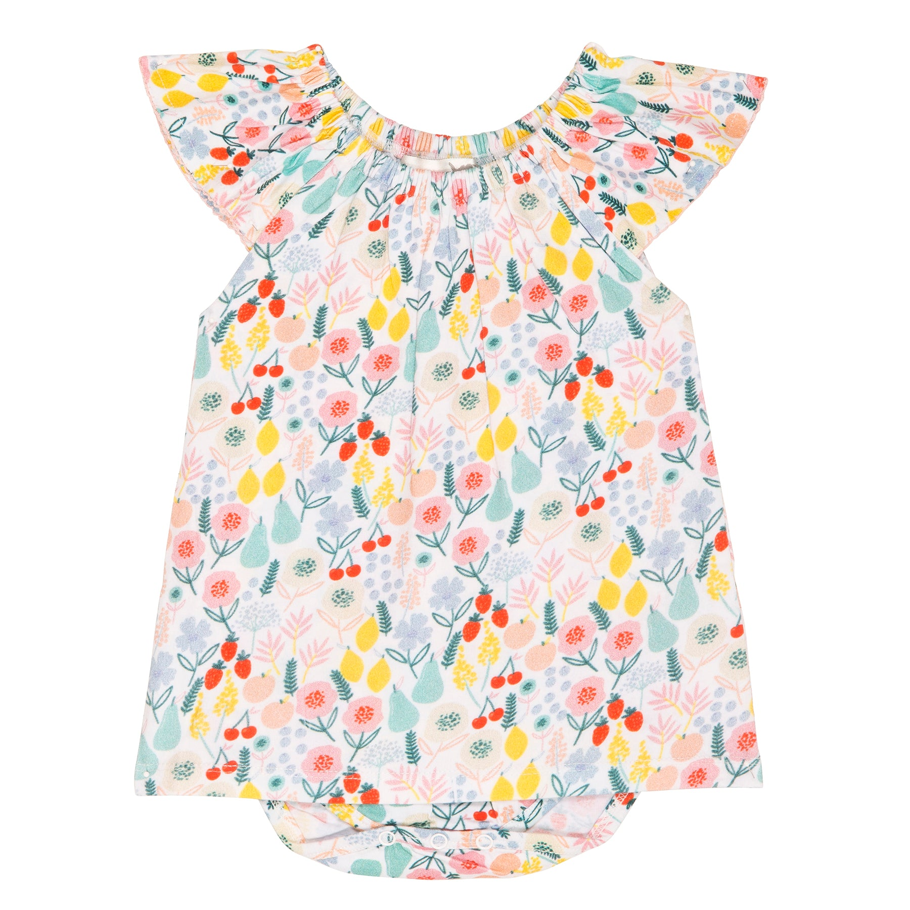 Floral fruit baby dress with ruffle sleeve