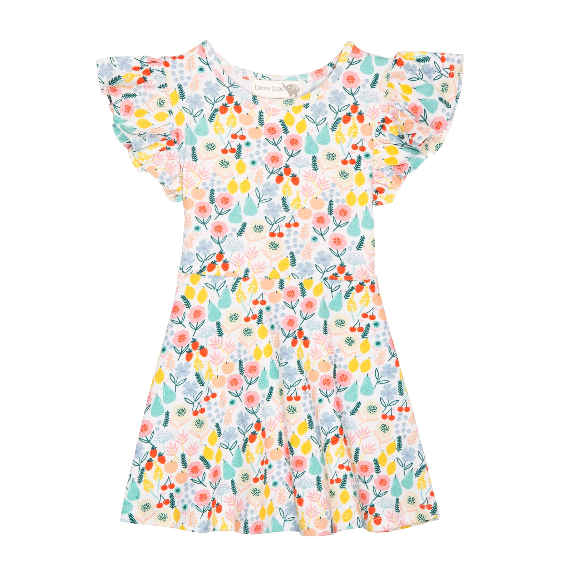 Floral fruit flutter sleeve dress