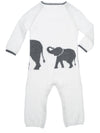 back detail of ivory elephant infant coverall in cashmere