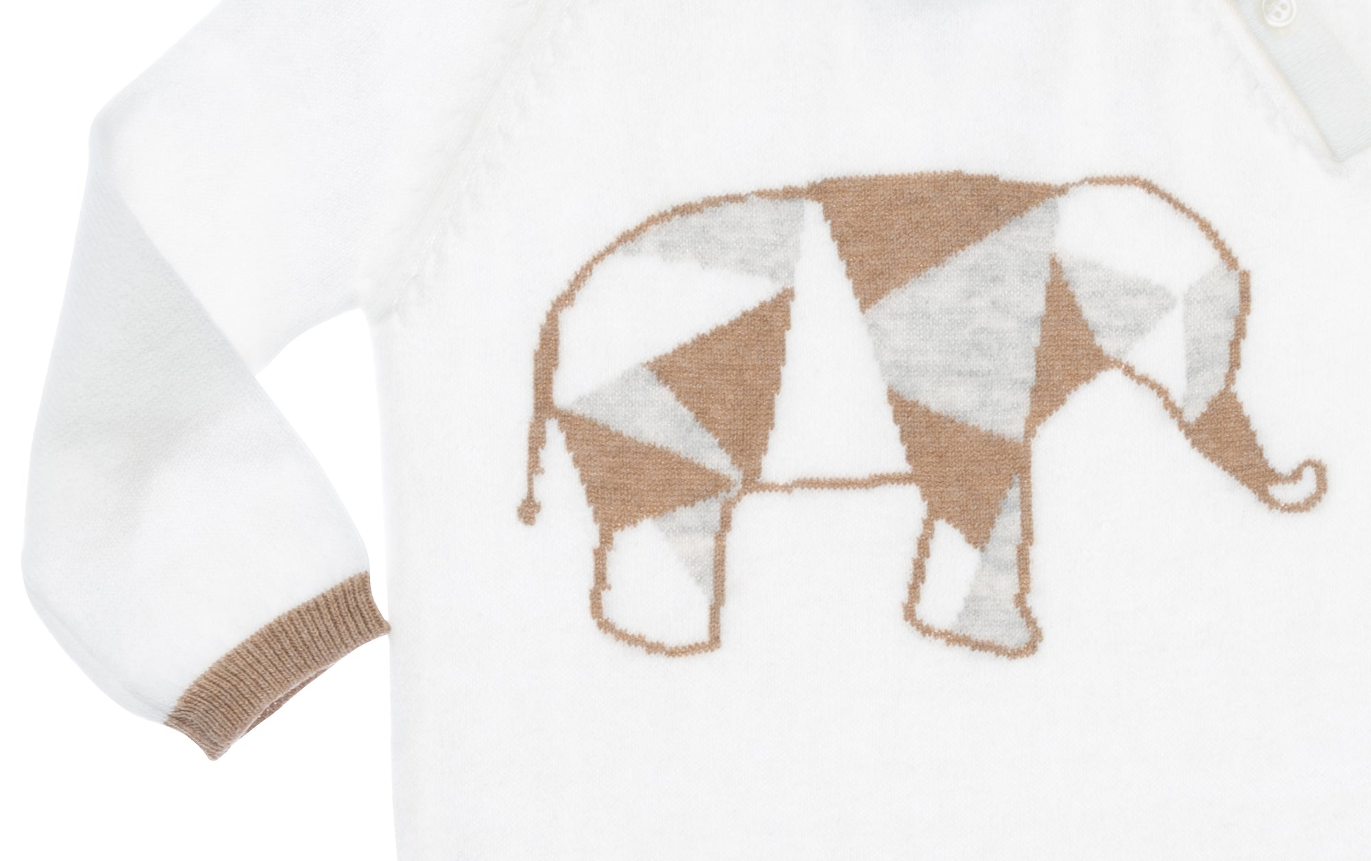 ivory  and heather brown cashmere elephant infant coverall