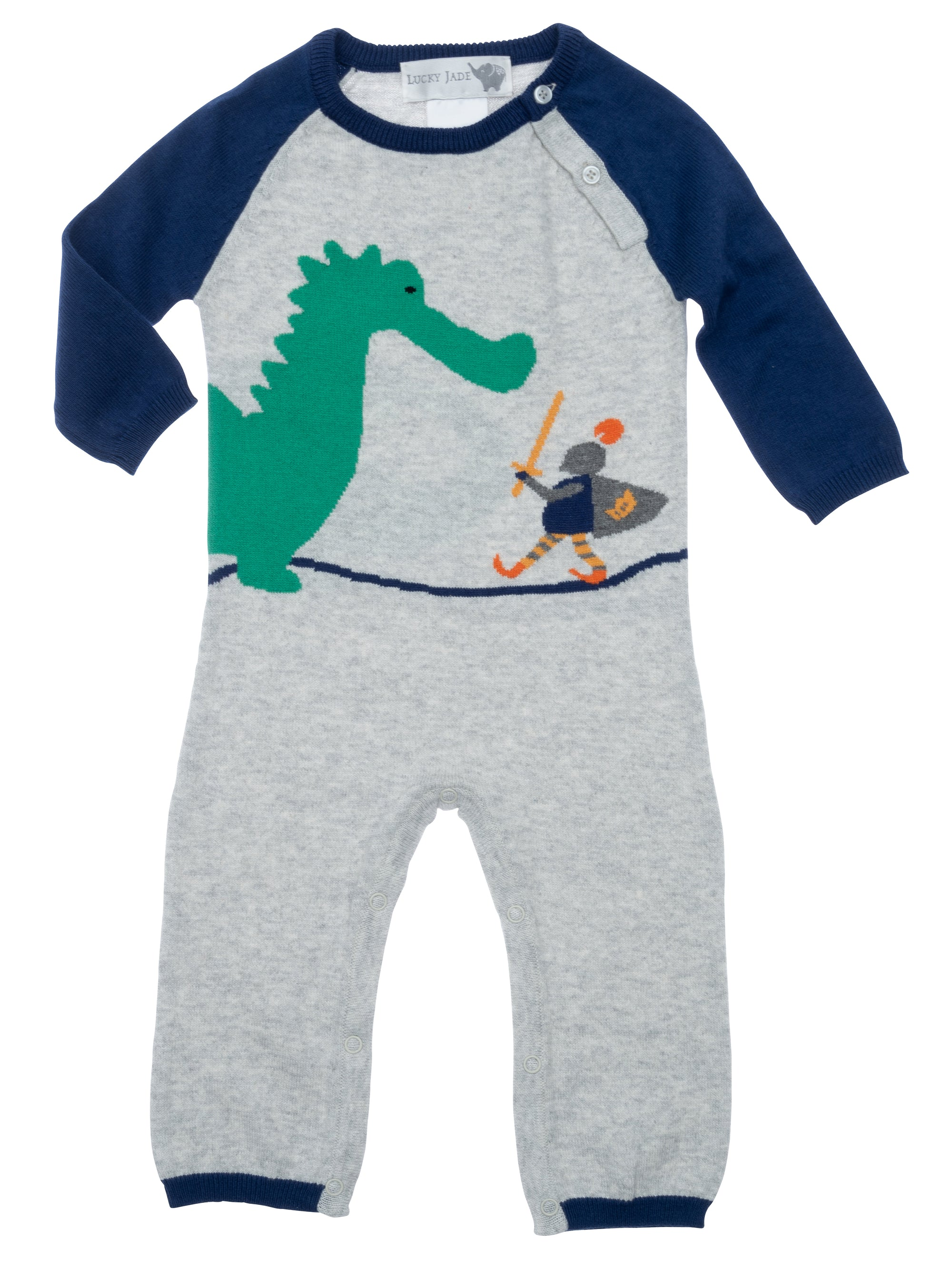 infant coverall with knight conquering dragon graphic