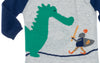 detail of knight conquering dragon infant coverall