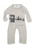 infant  grey coverall with brooklyn bridge graphic on the front