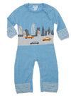 blue chambray new york coverall with taxi and buildings