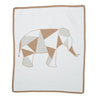 ivory and heather brown geometric elephant blanket made from cashmere and cotton