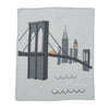 grey cashmere cotton blanket with brooklyn bridge graphic