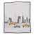new york cashmere blanket with city and taxi design pink