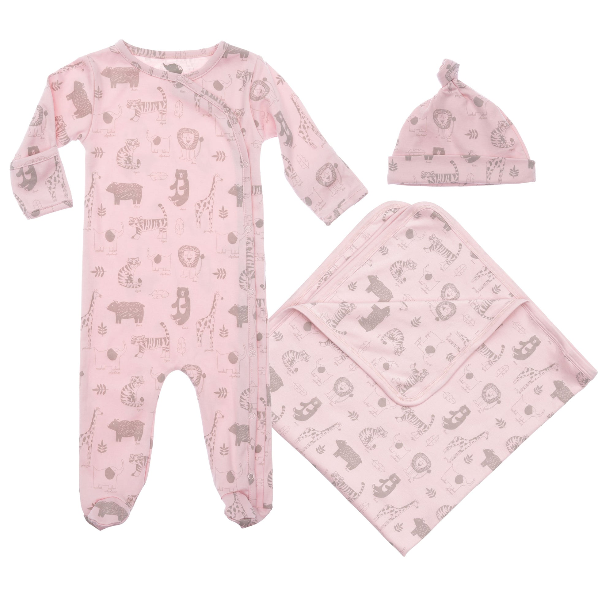 baby pink  pima cotton gift set including footed coverall blanket and hat