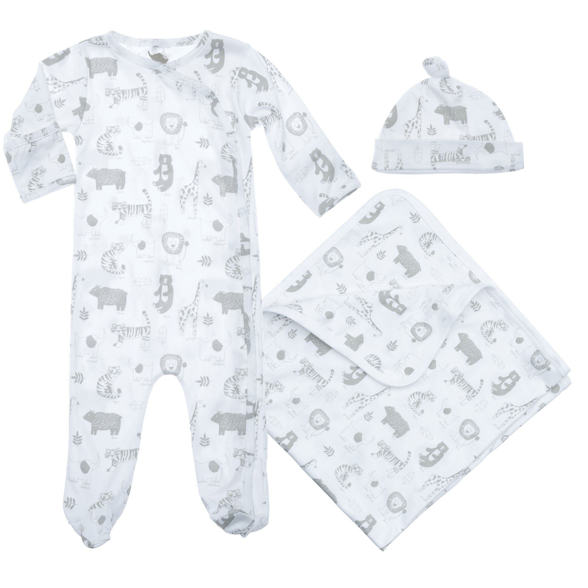 baby pima cotton gift set pieces including had,  blanket and coverall