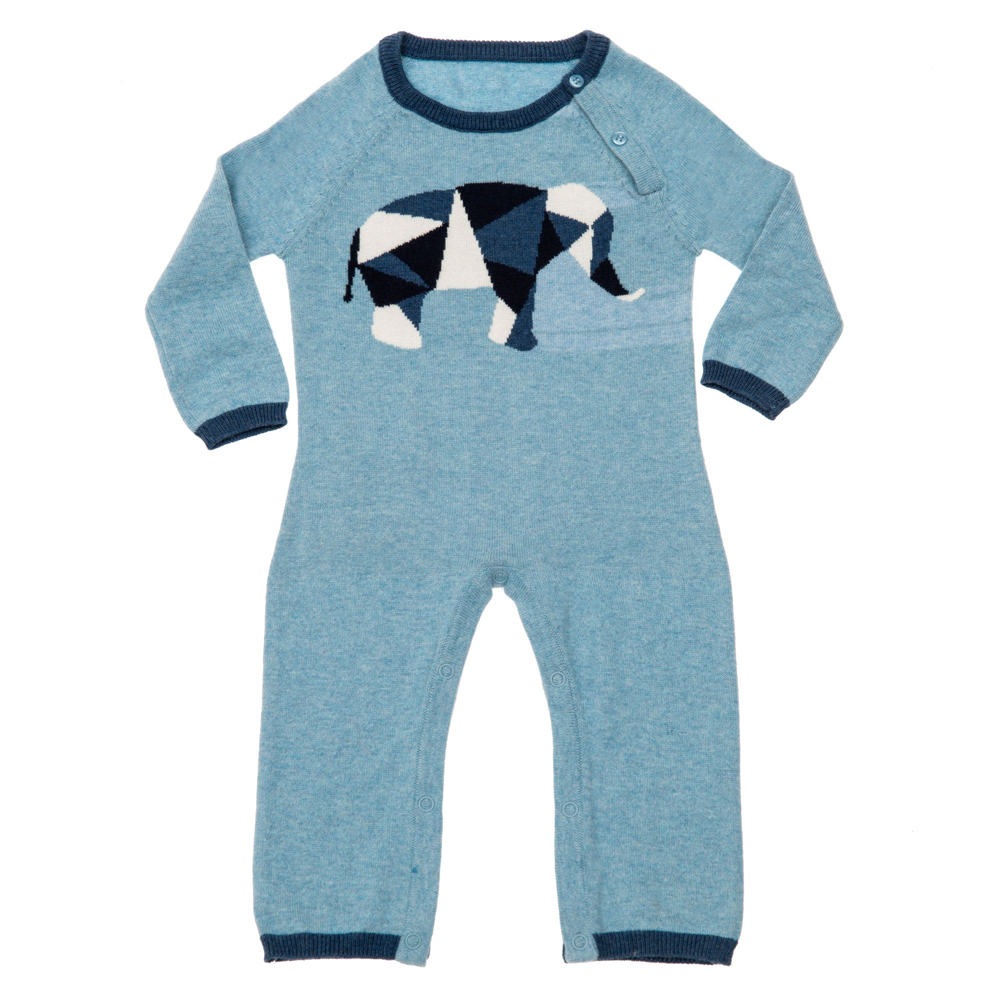 Geometric Elephant Coverall Blue