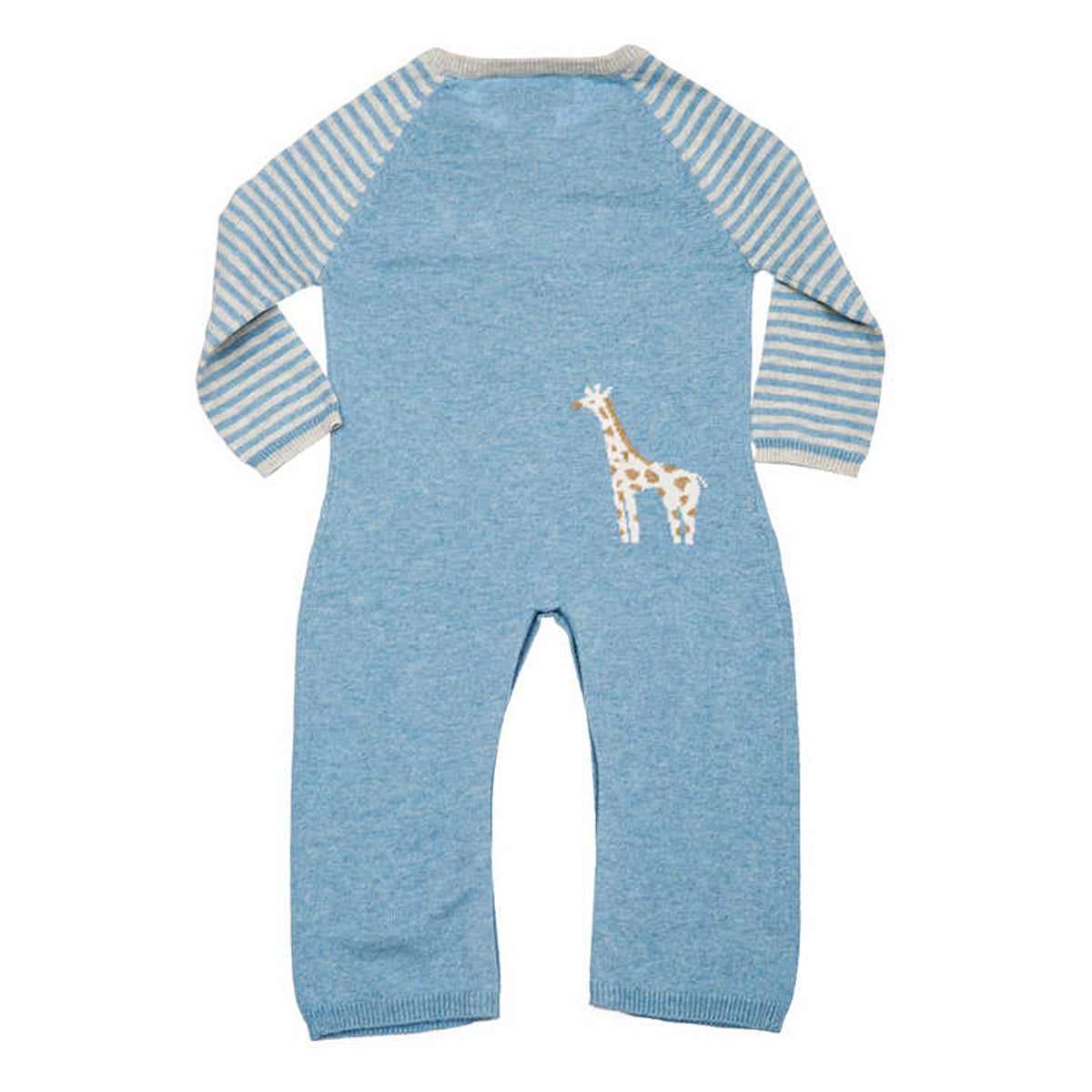 back detail of blue giraffe coverall with small giraffe detail