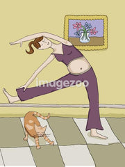 pregnant woman stretching with cat