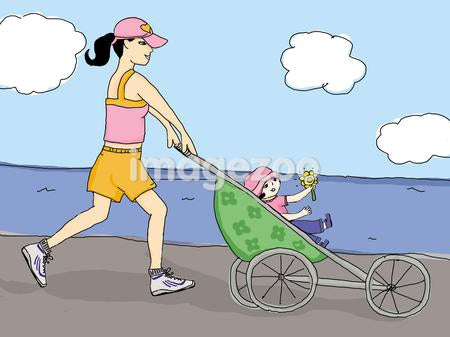 mother jogging with her daughter
