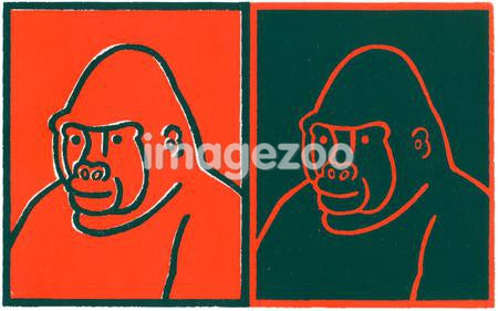 A negative and positive print of a gorilla