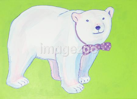 A Polar bear wearing a bow tie