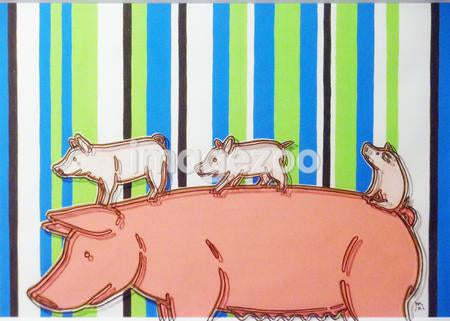 A print of a pig and three piglets