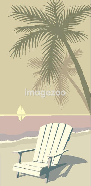 An empty chair and a palm tree on a beach