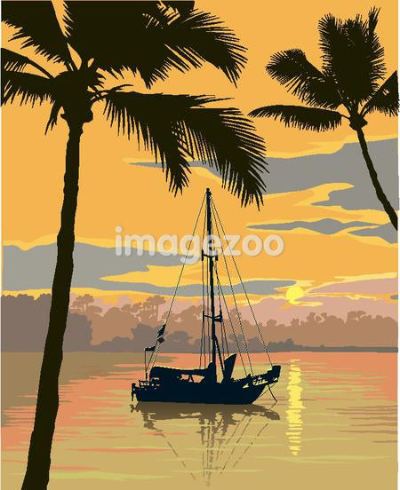 sailboat and palms