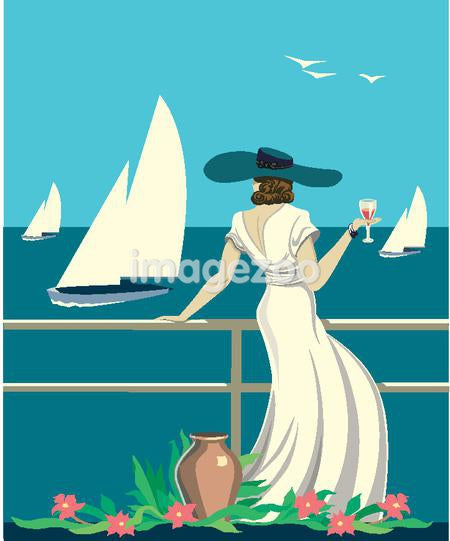 An elegant woman with fine wine looks out at the sea from the deck of her cruise ship