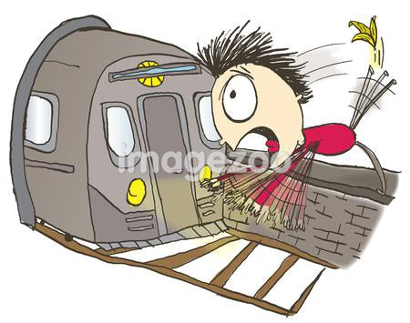 A man slipping on a banana peel and falling in front of a train