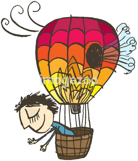 A happy man oblivious to a giant hole in his hot air balloon