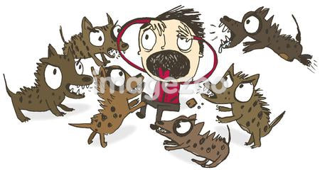 A frightened man being attacked by wild dogs
