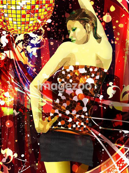 A portrait of a woman dancing under a disco ball