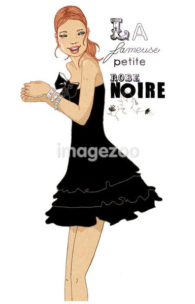 An illustration of a woman dressed in cocktail attire with type reading \La femeuse petite robe noire\