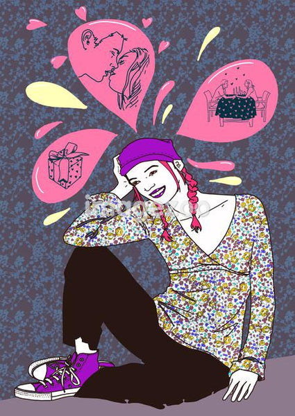 A colorful drawing of a young woman with pink thought bubble above her with images of a gift, a couple kissing and a romantic dinner setting.