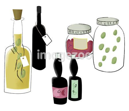 Bottles of oil, sauces, wine, and food