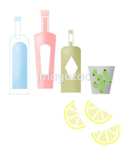 Bottles of alcohol and olives and lemon