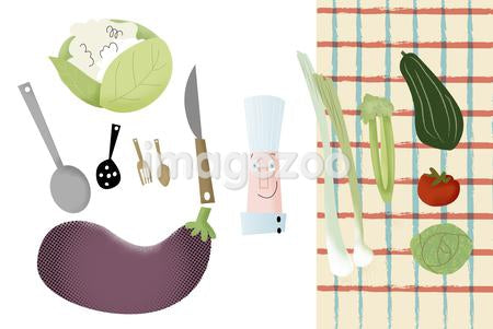 Food preparation tools and vegetables