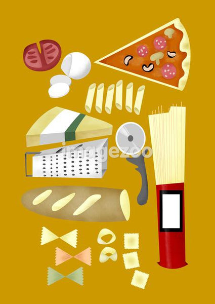 pizza, pasta, bread, and other food and kitchen tools
