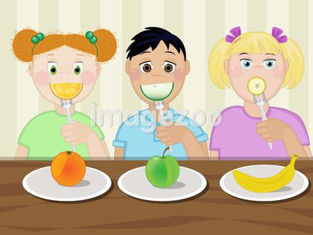 Three children eating healthy snacks