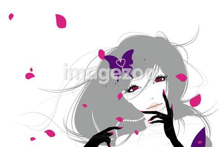 Illustration of a young woman with a purple butterfly in her hair surrounded by pink flower petals