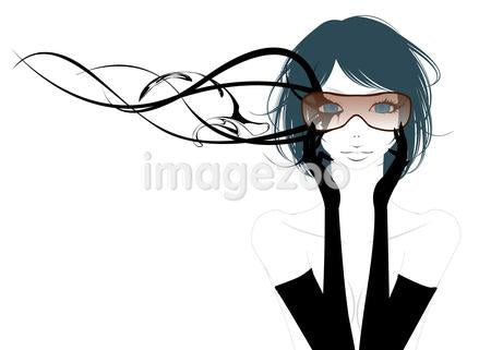 Illustration of a woman wearing whimsical glasses