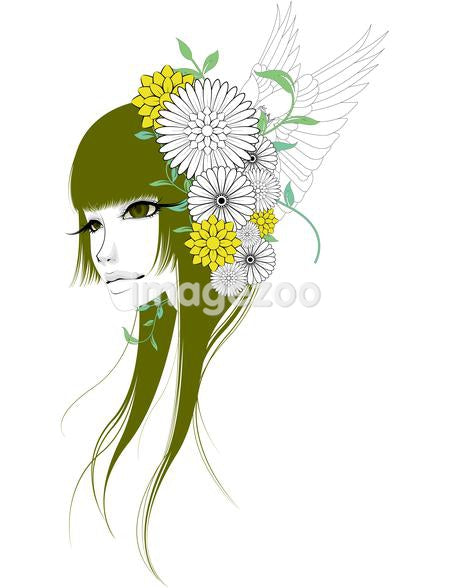 Illustration of a young woman with a fascinator of flowers and wings in her hair