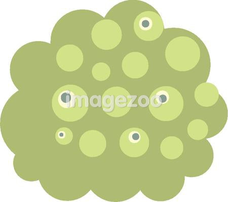 A spotted green shape in white background