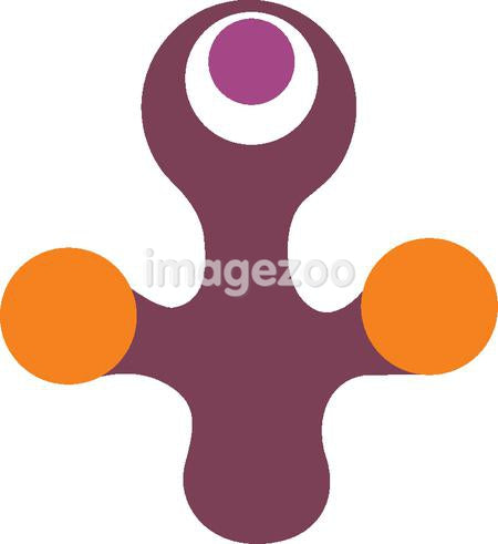 Cartoon drawing of purple and orange colored shape