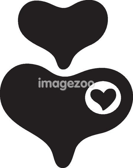 Black and white drawing of hearts