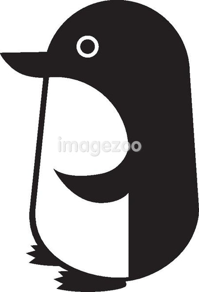 Black and white cartoon drawing of a penguin