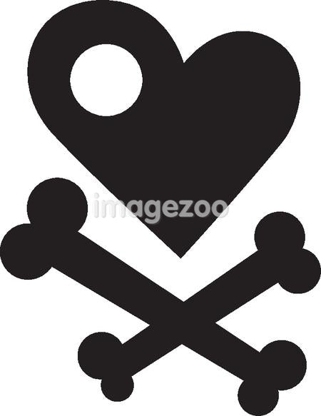An illustration of a heart and cross bones