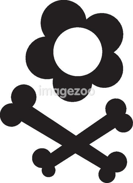 Black and white picture of a flower and cross bones