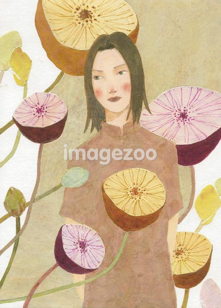 A young woman surrounded by large flowers