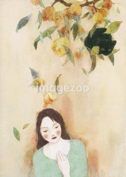 A watercolor painting of a woman with flowers above her