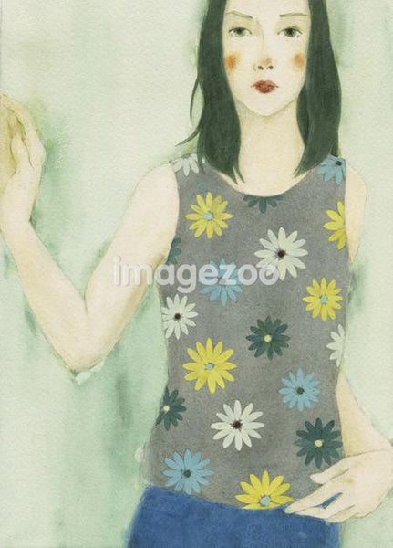 A watercolor painting of a young woman